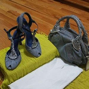 Fendi striped denim with leather t-strap sandals